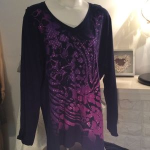 Long Sleeve T Shirt Top Purple Bling Sz 2X 18W/20W
